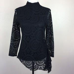 Soft Surroundings Long Sleeve Black Lace Top Sz S